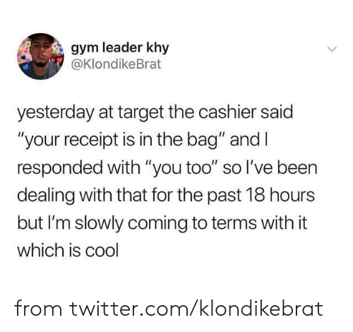 """Receipt: gym leader khy  @KlondikeBrat  yesterday at target the cashier said  """"your receipt is in the bag"""" and I  responded with """"you too"""" so l've been  dealing with that for the past 18 hours  but I'm slowly coming to terms with it  which is cool from twitter.com/klondikebrat"""