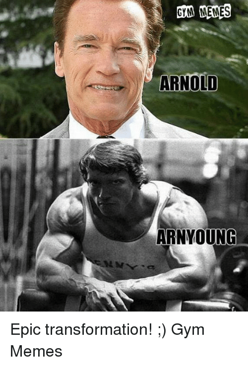 Gym, Memes, and Epic: GYM MEMES  ARNOLD  ARNYOUNG Epic transformation! ;)   Gym Memes
