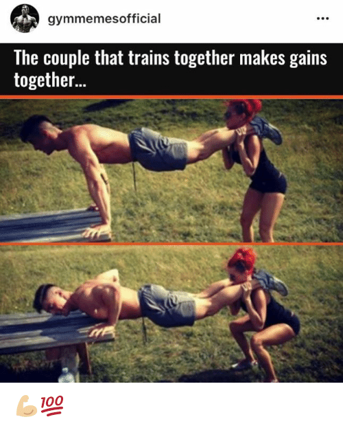 SIZZLE: gymmemes official  The couple that trains together makes gains  together... 💪🏼💯
