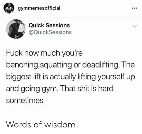 Words Of Wisdom: gymmemesofficial  Quick Sessions  @QuickSessions  Fuck how much you're  benching,squatting or deadlifting. The  biggest lift is actually lifting yourself up  and going gym. That shit is hard  sometimes Words of wisdom.