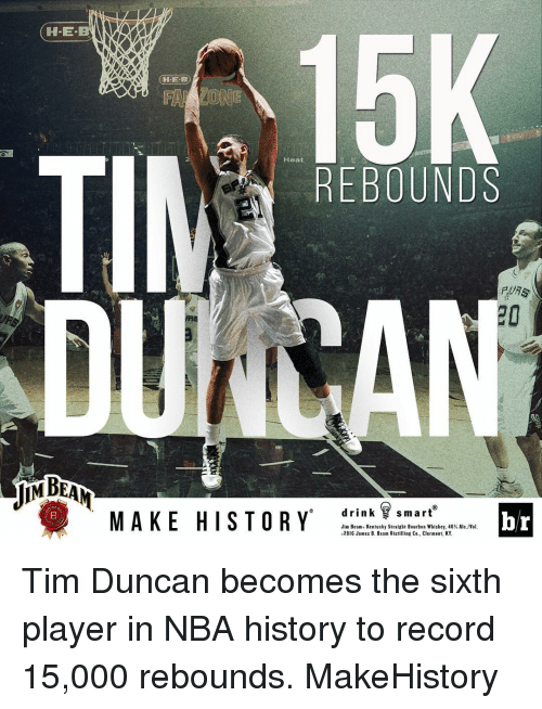 Tim Duncan: H-E-B  15K  ZONE  Heat  REBOUNDS  PDAs  drink  smart  MAKE HISTORY  br  Jim Beam. Kentucky Straight Bourbon Whiskey, 40% A  2016 James B. Beam Distilling Co., Clermont, KY Tim Duncan becomes the sixth player in NBA history to record 15,000 rebounds. MakeHistory