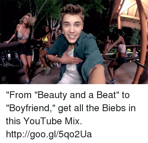 """Biebs: (H  essay """"From """"Beauty and a Beat"""" to """"Boyfriend,"""" get all the Biebs in this YouTube Mix. http://goo.gl/5qo2Ua"""