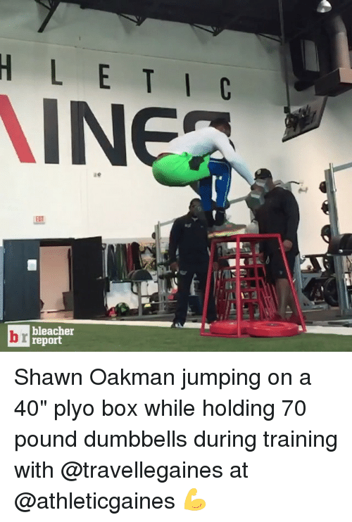 """Shawn Oakman: H L C  INEA  A  br report  bleacher Shawn Oakman jumping on a 40"""" plyo box while holding 70 pound dumbbells during training with @travellegaines at @athleticgaines 💪"""