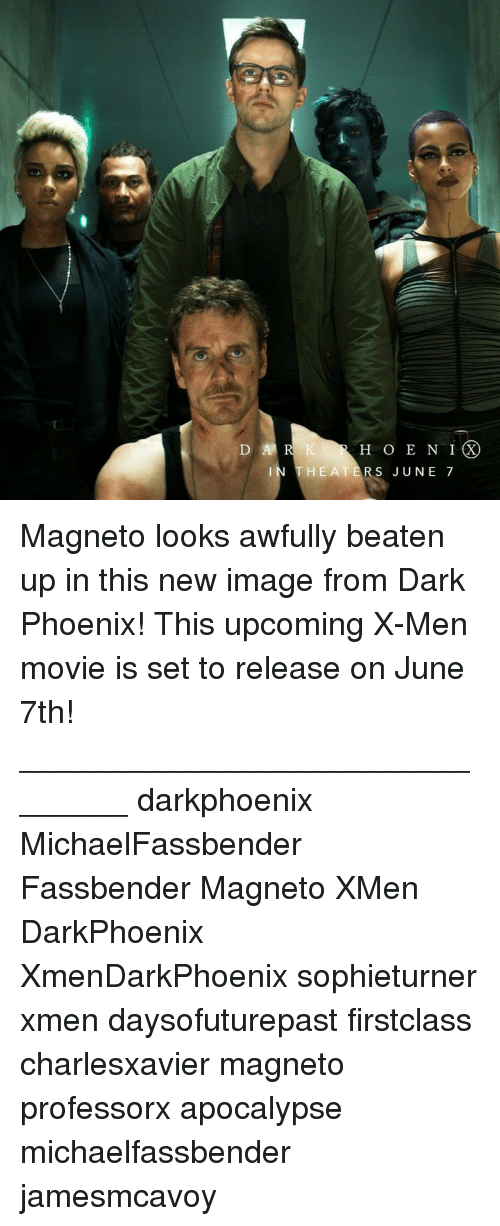 X-Men: H O E N IX  HEATERS JUNE 7 Magneto looks awfully beaten up in this new image from Dark Phoenix! This upcoming X-Men movie is set to release on June 7th! _______________________________ darkphoenix MichaelFassbender Fassbender Magneto XMen DarkPhoenix XmenDarkPhoenix sophieturner xmen daysofuturepast firstclass charlesxavier magneto professorx apocalypse michaelfassbender jamesmcavoy