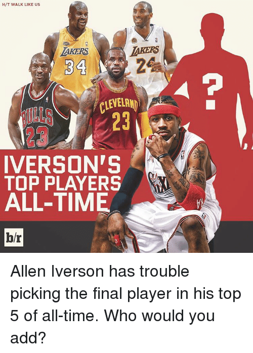Allen Iverson, Finals, and Sports: H/T WALK LIKE US  LAKERS  LAKERS  34  CLEVELAND  IVERSON'S  TOP PLAYERS  ALL-TIME  br Allen Iverson has trouble picking the final player in his top 5 of all-time. Who would you add?