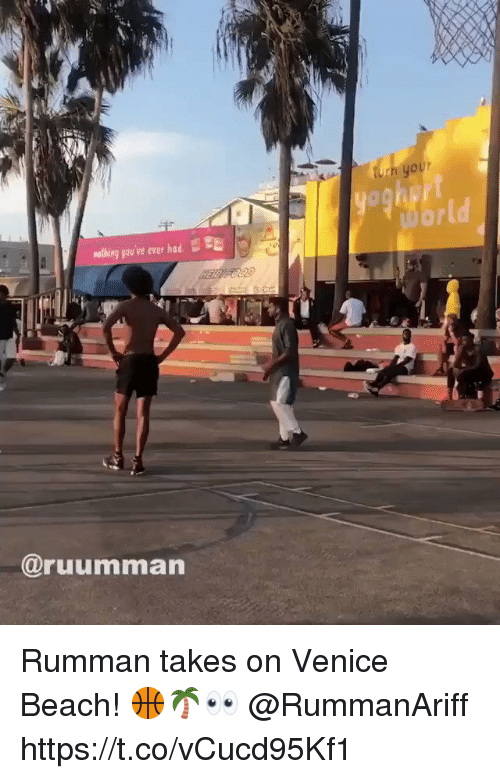 Beach, Venice, and Venice Beach: h your  mothing you've ever had. E  @ruumman Rumman takes on Venice Beach! 🏀🌴👀 @RummanAriff https://t.co/vCucd95Kf1