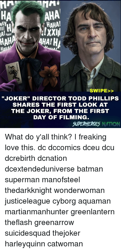 "cyborg: HA  AHA  HAHA!  !XXIII  HAHA!  HAH  SWIPE>>  JOKER"" DIRECTOR TODD PHILLIPS  SHARES THE FIRST LOOK AT  THE JOKER, FROM THE FIRST  DAY OF FILMING  SUPERHHEROES NATION What do y'all think? I freaking love this. dc dccomics dceu dcu dcrebirth dcnation dcextendeduniverse batman superman manofsteel thedarkknight wonderwoman justiceleague cyborg aquaman martianmanhunter greenlantern theflash greenarrow suicidesquad thejoker harleyquinn catwoman"