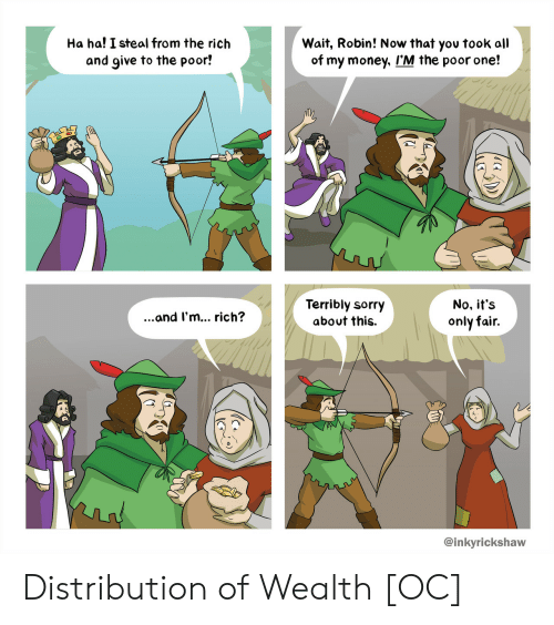terribly: Ha ha! I steal from the rich  and give to the poor!  Wait, Robin! Now that yov took all  of my money, I'M the poor one!  Terribly sorry  about this.  No, it's  only fair.  ...and I'm... rich?  @inkyrickshaw Distribution of Wealth [OC]