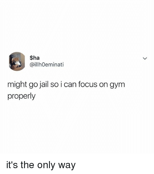 Gym, Jail, and Focus: $ha  ilhOeminati  might go jail so i can focus on gym  properly it's the only way