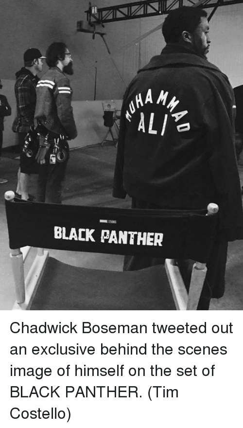 Memes, Black Panther, and Panthers: HA My  ALI  BLACK PANTHER Chadwick Boseman tweeted out an exclusive behind the scenes image of himself on the set of BLACK PANTHER.  (Tim Costello)