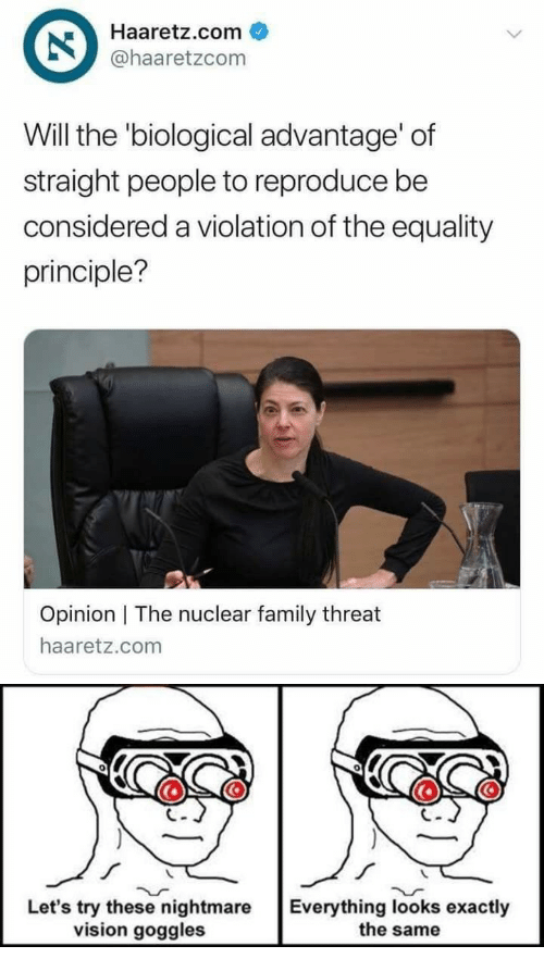 Family, Vision, and Haaretz: Haaretz.com  @haaretzcom  Will the 'biological advantage' of  straight people to reproduce be  considered a violation of the equality  principle?  Opinion   The nuclear family threat  haaretz.com   0  Let's try these nightmare  vision goggles  Everything looks exactly  the same