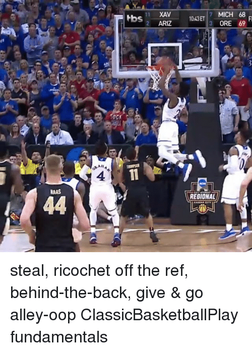 Oopes: HAAS  44  NHA  tbs  11 XAV  2 ARIZ  MICH 68  1043ET  3 ORE 69  REGIONAL steal, ricochet off the ref, behind-the-back, give & go alley-oop ClassicBasketballPlay fundamentals