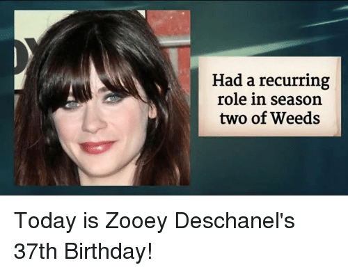 Zooey Deschanel: Had a recurring  role in season  two of Weeds Today is Zooey Deschanel's 37th Birthday!