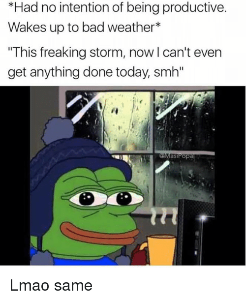"""Bad, Lmao, and Memes: *Had no intention of being productive.  Wakes up to bad weather  """"This freaking storm, now l can't even  get anything done today smh""""  as Popa Lmao same"""