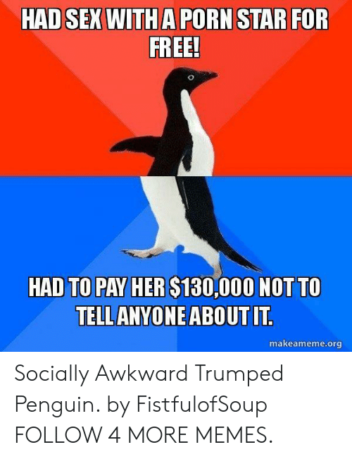 Trumped: HAD SEX WITH A PORN STAR FOR  FREE!  HAD TO PAY HER $130,000 NOT TO  TELL ANYONE ABOUT IT.  makeameme.org Socially Awkward Trumped Penguin. by FistfulofSoup FOLLOW 4 MORE MEMES.