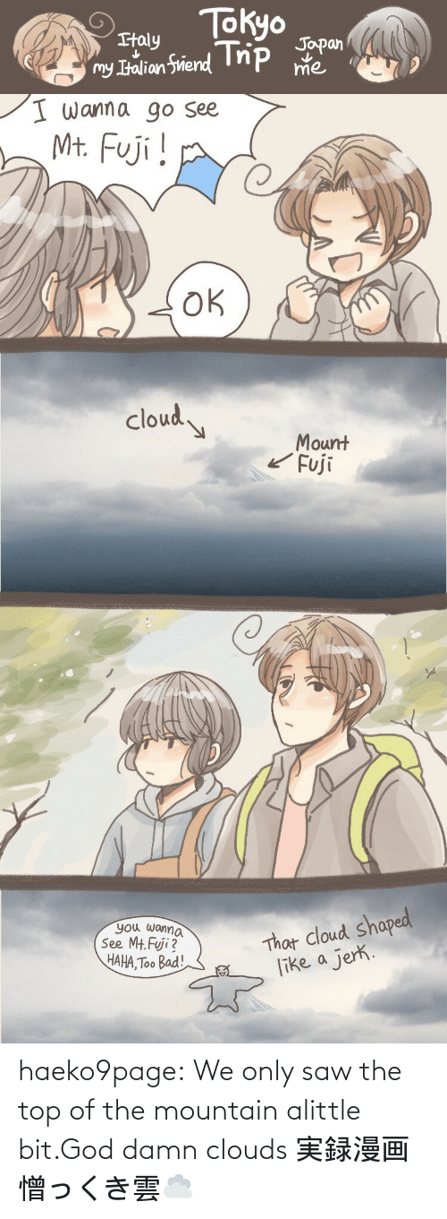 mountain: haeko9page:  We only saw the top of the mountain alittle bit.God damn clouds 実録漫画憎っくき雲☁️