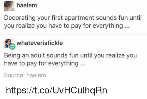 Memes, 🤖, and Source: haelem  Decorating your first apartment sounds fun until  you realize you have to pay for everything  whatever isfickle  Being an adult sounds fun until you realize you  have to pay for everything  Source: haelem https://t.co/UvHCulhqRn