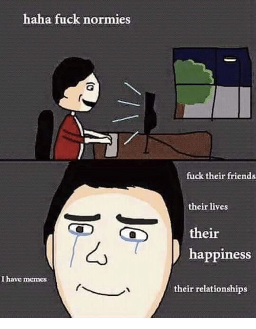 Meme Fuck: haha fuck normies  I have memes  fuck their friends  their lives  their  happiness  their relationships