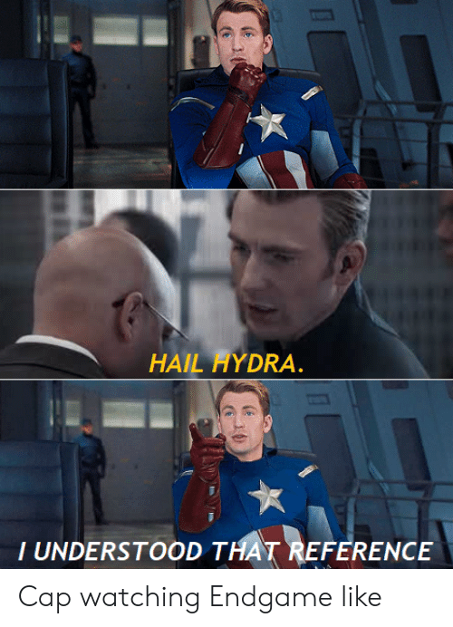 hydra: HAIL HYDRA.  T UNDERSTOOD THAT REFERENCE Cap watching Endgame like