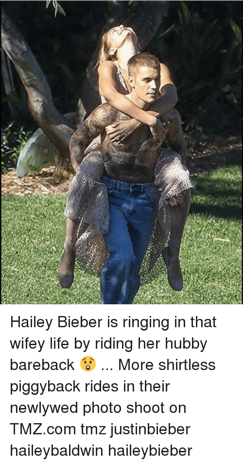 photo shoot: Hailey Bieber is ringing in that wifey life by riding her hubby bareback 😲 ... More shirtless piggyback rides in their newlywed photo shoot on TMZ.com tmz justinbieber haileybaldwin haileybieber