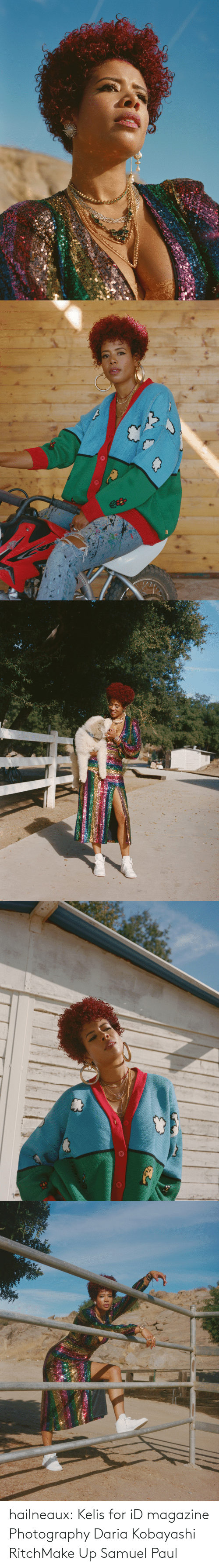 pharrell: hailneaux: Kelis for iD magazine Photography Daria Kobayashi RitchMake Up Samuel Paul