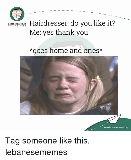 Crying, Thank You, and Home: Hairdresser: do you like it?  Lebanese Memes  S O L U T I O N S  Me: yes thank you  *goes home and cries*  www.lebanese-memes.org Tag someone like this. lebanesememes