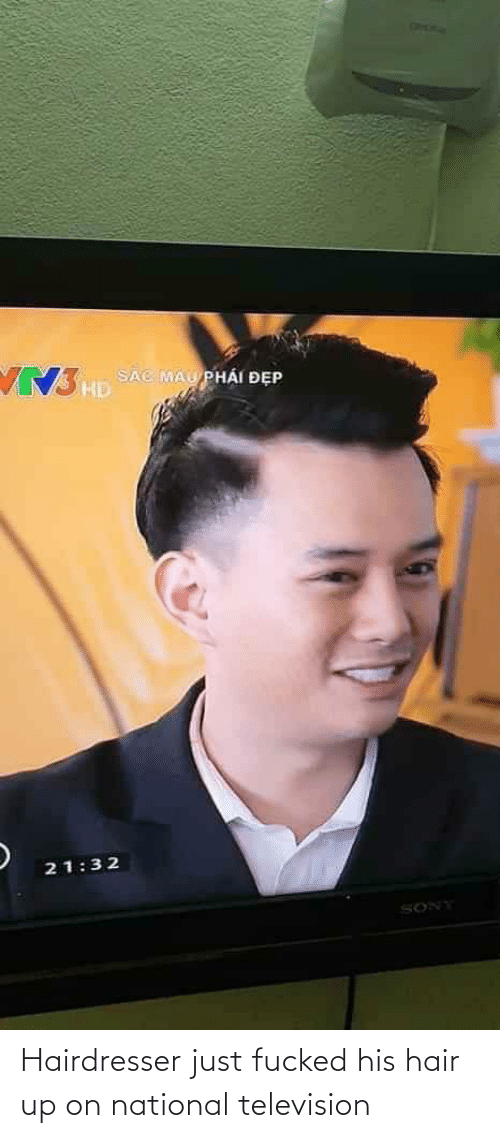 Television: Hairdresser just fucked his hair up on national television