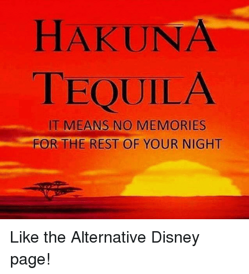 Disney, Funny, and Tequila: HAKUNA  TEQUILA  IT MEANS NO MEMORIES  FOR THE REST OF YOUR NIGHT Like the Alternative Disney page!