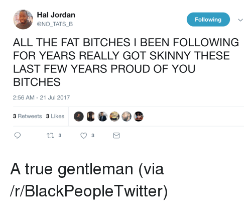 True Gentleman: Hal Jordan  @NO TATS B  Following  ALL THE FAT BITCHES I BEEN FOLLOWING  FOR YEARS REALLY GOT SKINNY THESE  LAST FEW YEARS PROUD OF YOU  BITCHES  2:56 AM -21 Jul 2017  3 Retweets 3 Likes <p>A true gentleman (via /r/BlackPeopleTwitter)</p>