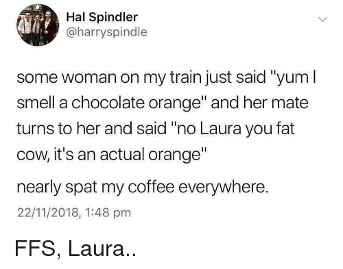 """hal: Hal Spindler  @harryspindle  some woman on my train just said """"yum I  smell a chocolate orange and her mate  turns to her and said """"no Laura you fat  cow, it's an actual orange""""  nearly spat my coffee everywhere.  22/11/2018, 1:48 pmm FFS, Laura.."""