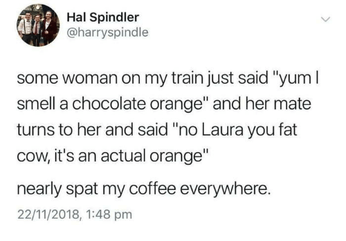 """hal: Hal Spindler  @harryspindle  some woman on my train just said """"yum l  smell a chocolate orange"""" and her mate  turns to her and said """"no Laura you fat  cow, it's an actual orange""""  nearly spat my coffee everywhere.  22/11/2018, 1:48 pmm"""