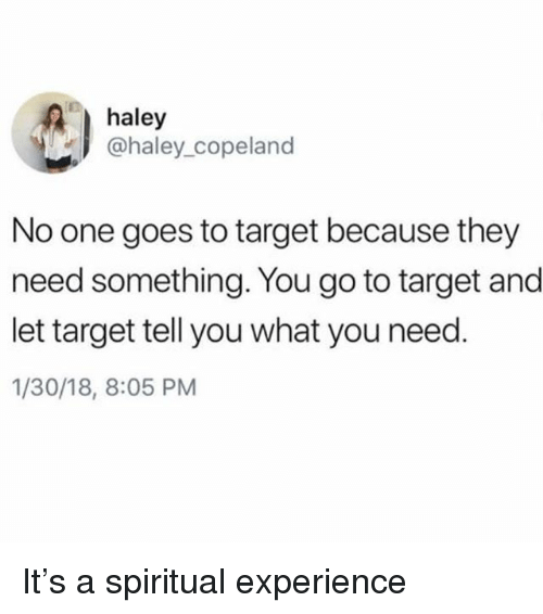 Target, Girl Memes, and Experience: haley  @haley copeland  No one goes to target because they  need something. You go to target and  let target tell you what you need  1/30/18, 8:05 PM It's a spiritual experience