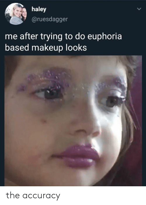 Makeup, Memes, and 🤖: haley  @ruesdagger  me after trying to do euphoria  based makeup looks the accuracy