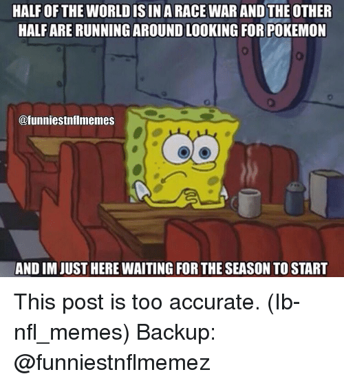 Meme, Memes, and Nfl: HALF OF THE WORLD ISIN A RACE WAR AND THE OTHER  HALF ARE RUNNING AROUND LOOKING FOR POKEMON  @funniestnflmemes  AND IM JUST HERE WAITING FOR THE SEASON TO START This post is too accurate. (Ib-nfl_memes) Backup: @funniestnflmemez