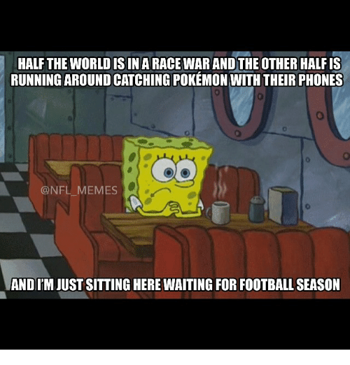 Meme, Memes, and Nfl: HALF THE WORLDISIN A RACE WAR ANDTHE OTHER HALF IS  RUNNING AROUND CATCHING POKEMON WITH THEIR PHONES  @NFL MEMES  AND ITMJUSTSITTING HERE WAITING FOR FOOTBALLSEASON