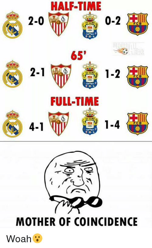 Soccer, Time, and Coincidence: HALF-TIME  0-2  2-0  65'  2-1  1-2  FULLTIME  1-4  4-1  MOTHER OF COINCIDENCE Woah😮
