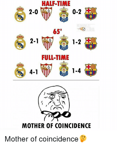 Memes, Time, and Coincidence: HALF TIME  65'  2-1  FULL-TIME  1.4  4-1  MOTHER OF COINCIDENCE Mother of coincidence🤔