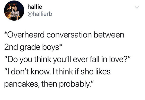 """Dank, Fall, and Love: hallie  @hallierb  *Overheard conversation between  2nd grade boys*  """"Do you think you'll ever fall in love?""""  """"I don't know. I think if she likes  pancakes, then probably."""""""