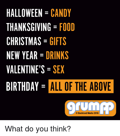 Birthday, Candy, and Drinking: HALLOWEEN CANDY  THANKSGIVING FOOD  CHRISTMAS  GIFTS  NEW YEAR  DRINKS  VALENTINE'S SEX  BIRTHDAY ALL OF THE ABOVE  TUM  Backland Media 2016 What do you think?