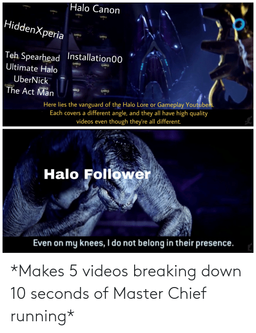 breaking down: Halo Canon  HiddenXperia  Teh Spearhead Installation00  Ultimate Halo  UberNick  The Act Man  Here lies the vanguard of the Halo Lore or Gameplay Youtubers.  Each covers a different angle, and they all have high quality  videos even though they're all different.  Halo Follower  Even on my knees, I do not belong in their presence. *Makes 5 videos breaking down 10 seconds of Master Chief running*