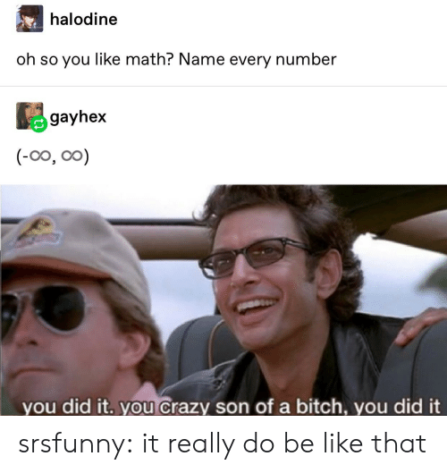 You Crazy: halodine  oh so you like math? Name every number  gayhex  (-0o, oo)  you did it. you crazy son of a bitch, you did it srsfunny:  it really do be like that