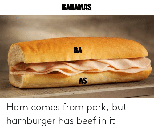 Beef: Ham comes from pork, but hamburger has beef in it