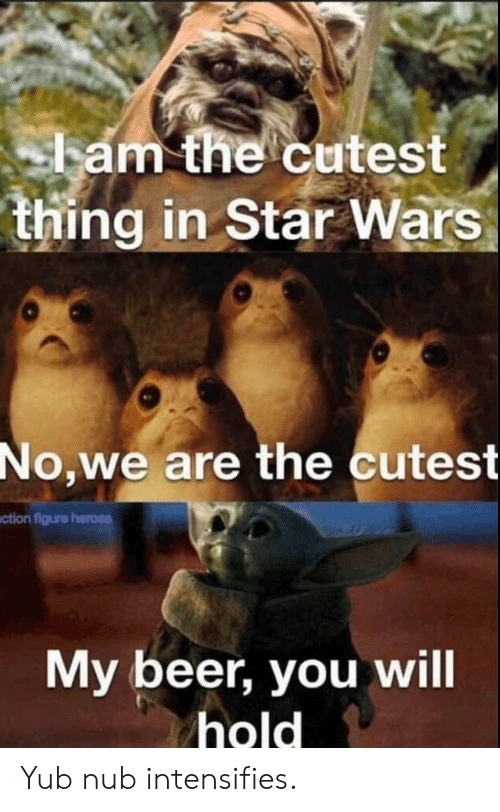 My Beer: ham the cutest  thing in Star Wars  No,we are the cutest  ction figure heroes  My beer, you will  hold Yub nub intensifies.