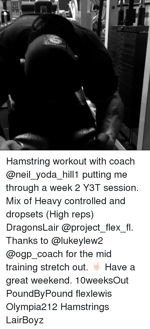 Flexing, Memes, and Yoda: Hamstring workout with coach @neil_yoda_hill1 putting me through a week 2 Y3T session. Mix of Heavy controlled and dropsets (High reps) DragonsLair @project_flex_fl. Thanks to @lukeylew2 @ogp_coach for the mid training stretch out. 🤘🏻 Have a great weekend. 10weeksOut PoundByPound flexlewis Olympia212 Hamstrings LairBoyz