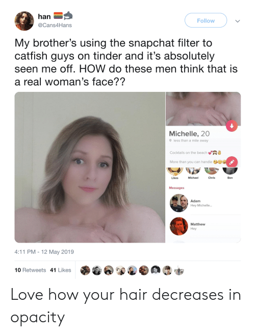 Catfished: han  Follow  @Cans4Hans  My brother's using the snapchat filter to  catfish guys on tinder and it's absolutely  seen me off. HOW do these men think that is  a real woman's face??  Michelle, 20  O less than a mile away  Cocktails on the beach  an handle  Chris  Michael  Ben  Likes  Messages  Adam  Hey Michelle...  Matthew  Hey  4:11 PM -12 May 2019  10 Retweets 41 Likes Love how your hair decreases in opacity