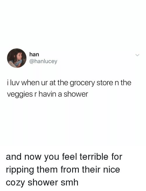 Shower, Smh, and Relatable: han  @hanlucey  i luv when ur at the grocery store n the  veggies r havin a shower and now you feel terrible for ripping them from their nice cozy shower smh