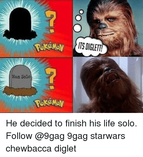 Life: Han Solo  ITS DIGLETT! He decided to finish his life solo. Follow @9gag 9gag starwars chewbacca diglet