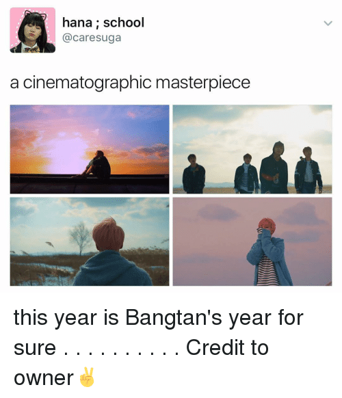 cinematographer: hana school  caresuga  a cinematographic masterpiece this year is Bangtan's year for sure . . . . . . . . . . Credit to owner✌