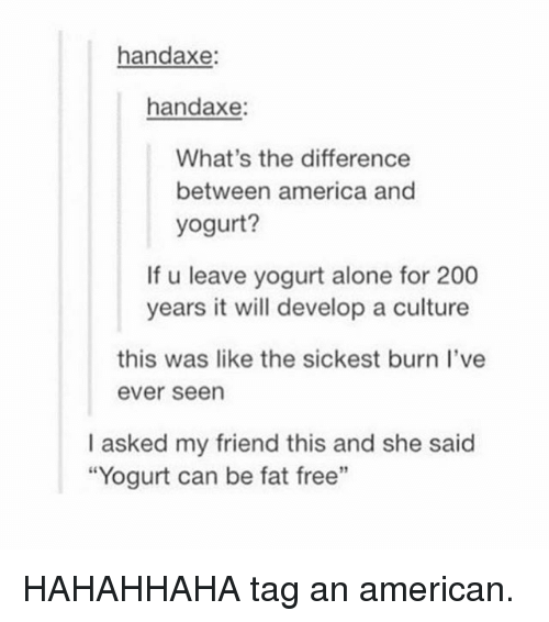 "Being Alone, America, and Bailey Jay: handaxe:  handaxe:  What's the difference  between america and  yogurt?  If u leave yogurt alone for 200  years it will develop a culture  this was like the sickest burn l've  ever seen  I asked my friend this and she said  ""Yogurt can be fat free""  91 HAHAHHAHA tag an american."