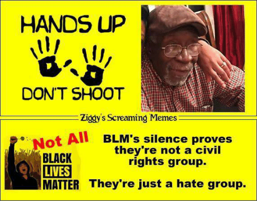 Memes, Black, and Silence: HANDS UP  DON'T SHOOT  Ziggy's Screaming Memes  Not All BLM's silence proves  they're not a civil  BLACK  rights group.  LIVES  MATTER They're just a hate group.